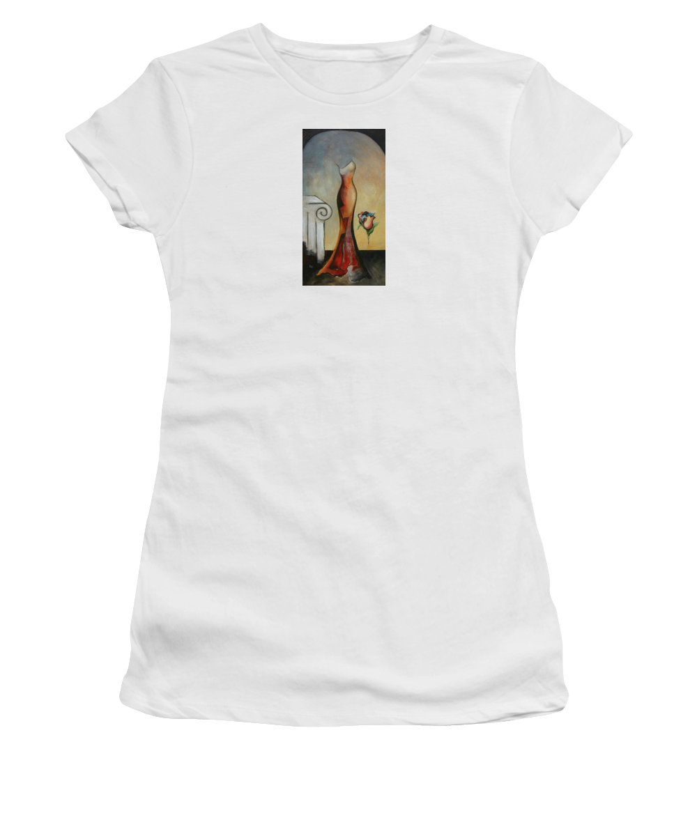 Women Women's T-Shirt (Athletic Fit) featuring the painting Lady Autunm by Germaine Fine Art