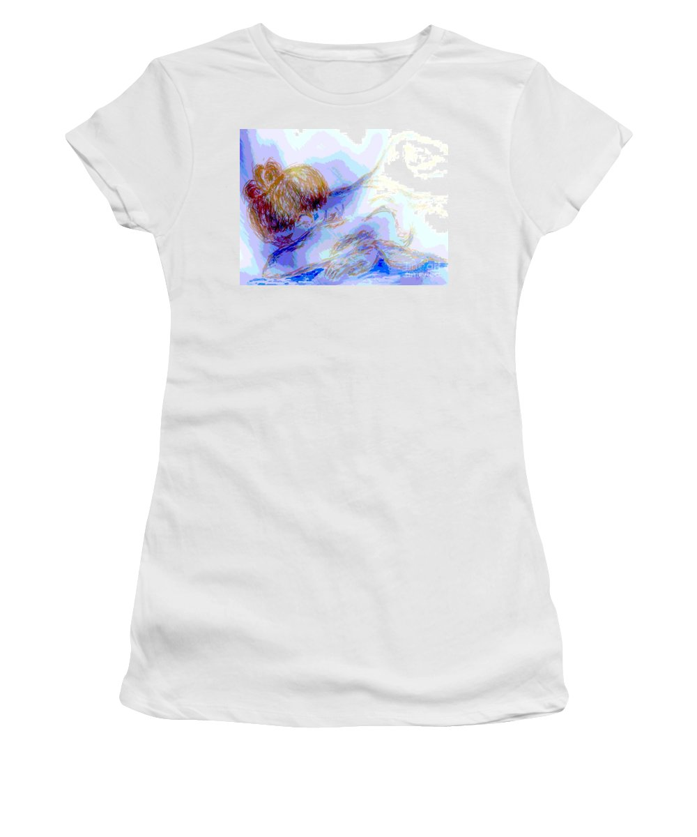 Lady Women's T-Shirt (Athletic Fit) featuring the digital art Lady Crying by Shelley Jones