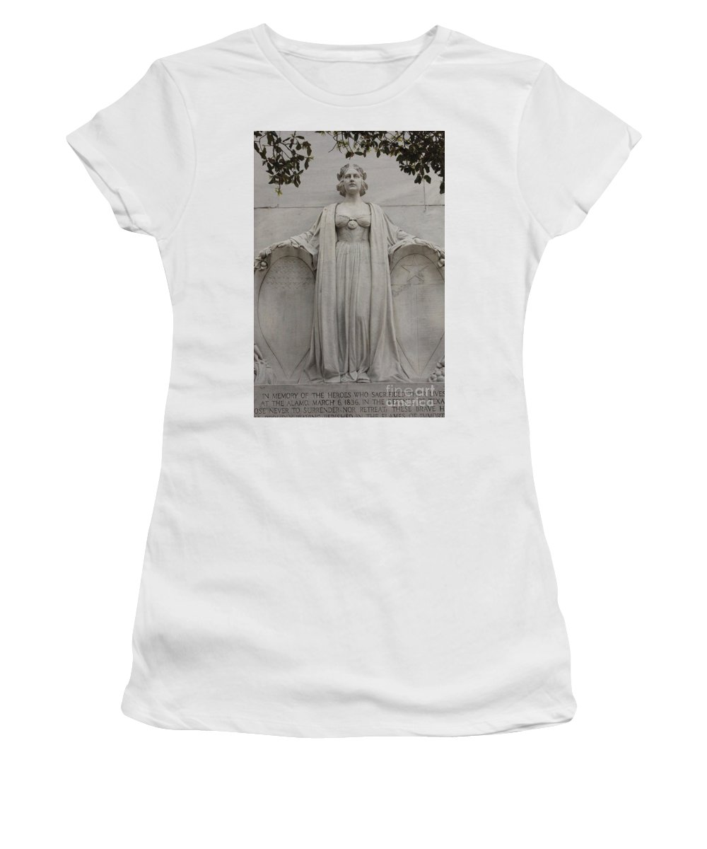 Alamo Women's T-Shirt (Athletic Fit) featuring the photograph Lady Liberty On Alamo Monument by Carol Groenen