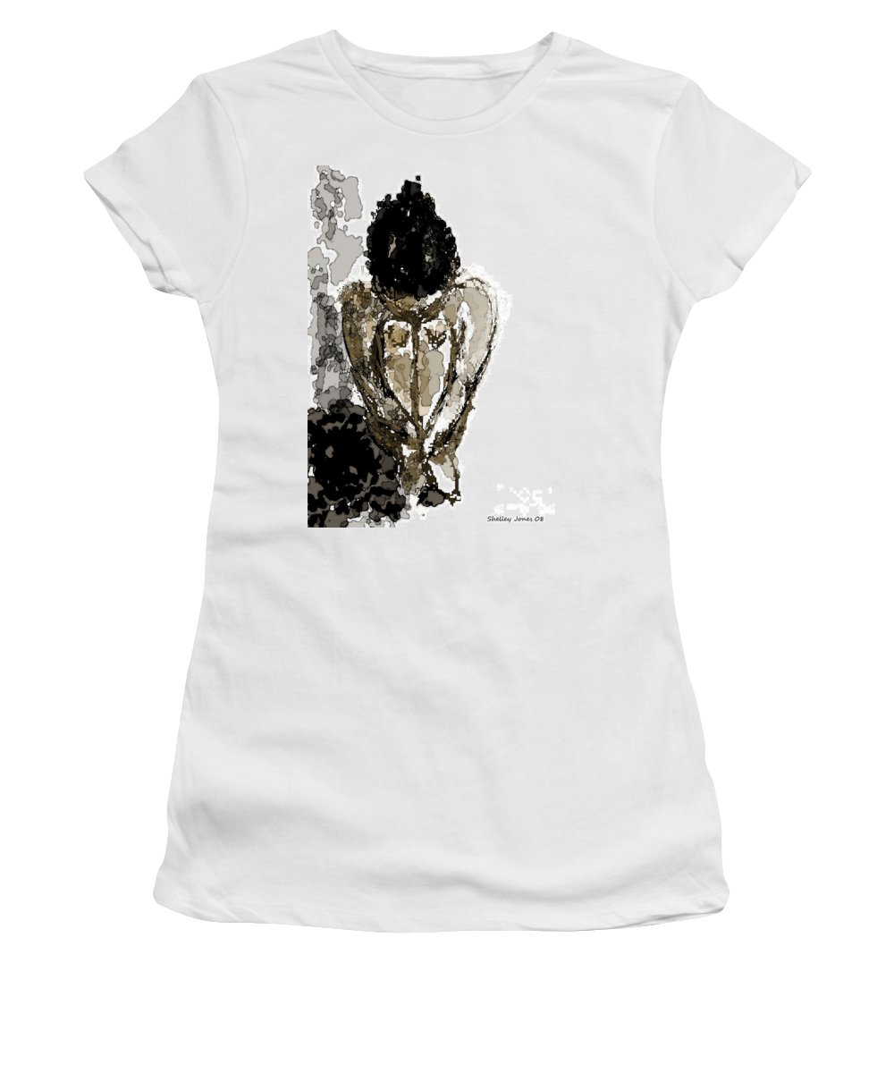 Lady Women's T-Shirt (Athletic Fit) featuring the digital art Lady Sitting by Shelley Jones