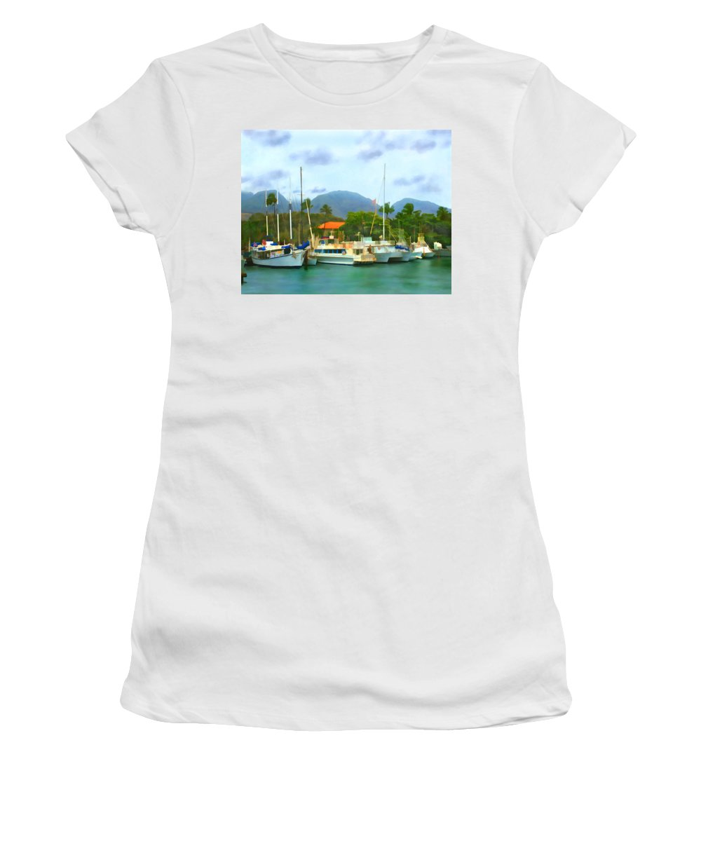 Lahina Women's T-Shirt (Athletic Fit) featuring the photograph Lahina Harbor by Kurt Van Wagner