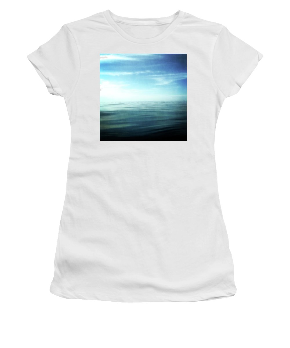 Blue Sky Women's T-Shirt (Athletic Fit) featuring the photograph Lake And Sky by Michelle Calkins