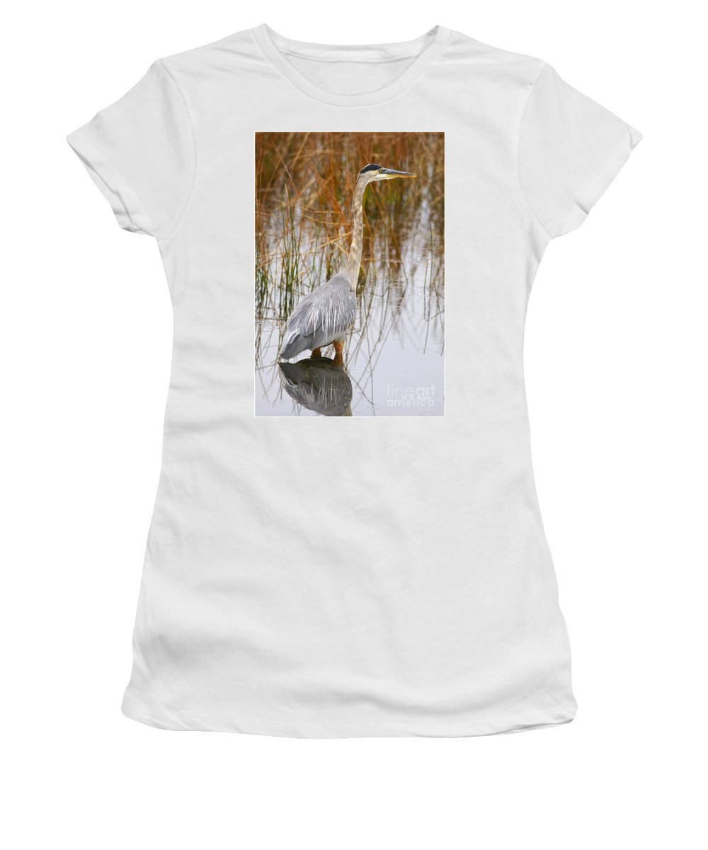 Blueheron Women's T-Shirt (Athletic Fit) featuring the photograph Lake Carmi Visitor by Deborah Benoit