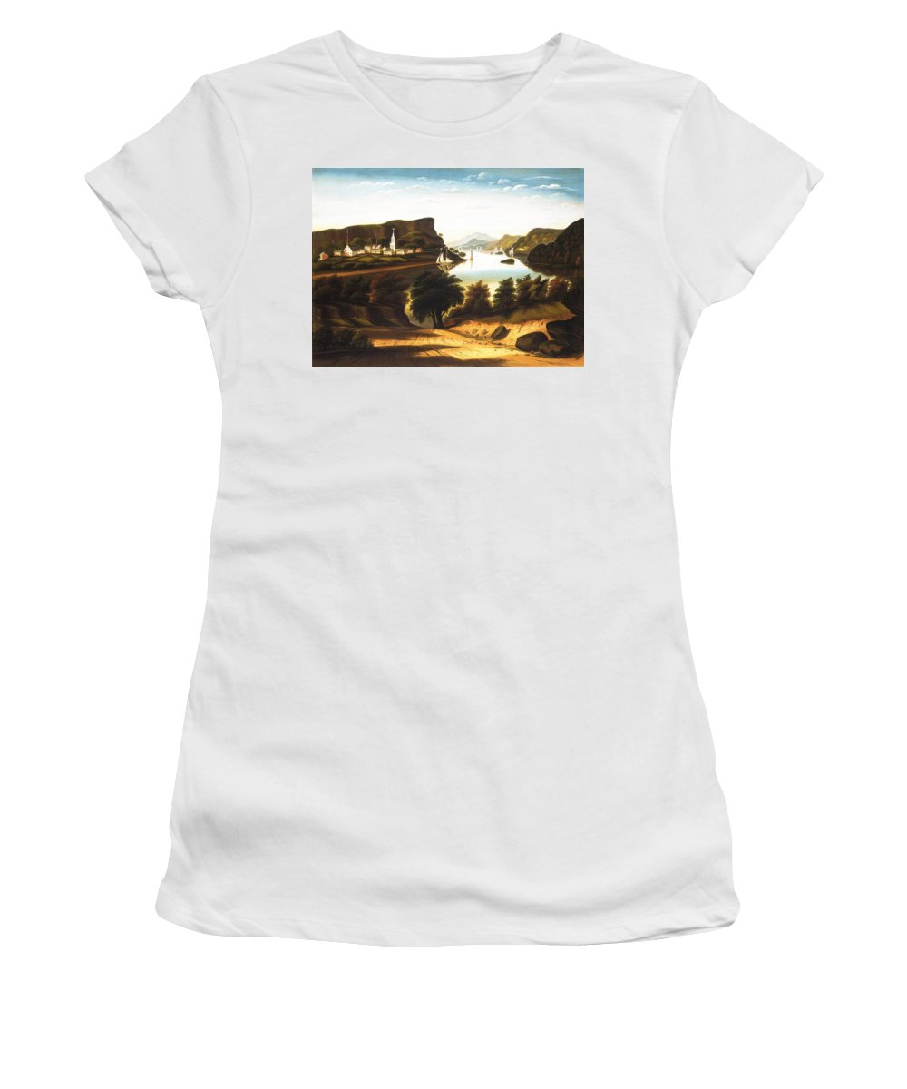Lake George And The Village Of Caldwell By Thomas Chambers Women's T-Shirt featuring the painting Lake George And The Village by Thomas Chambers