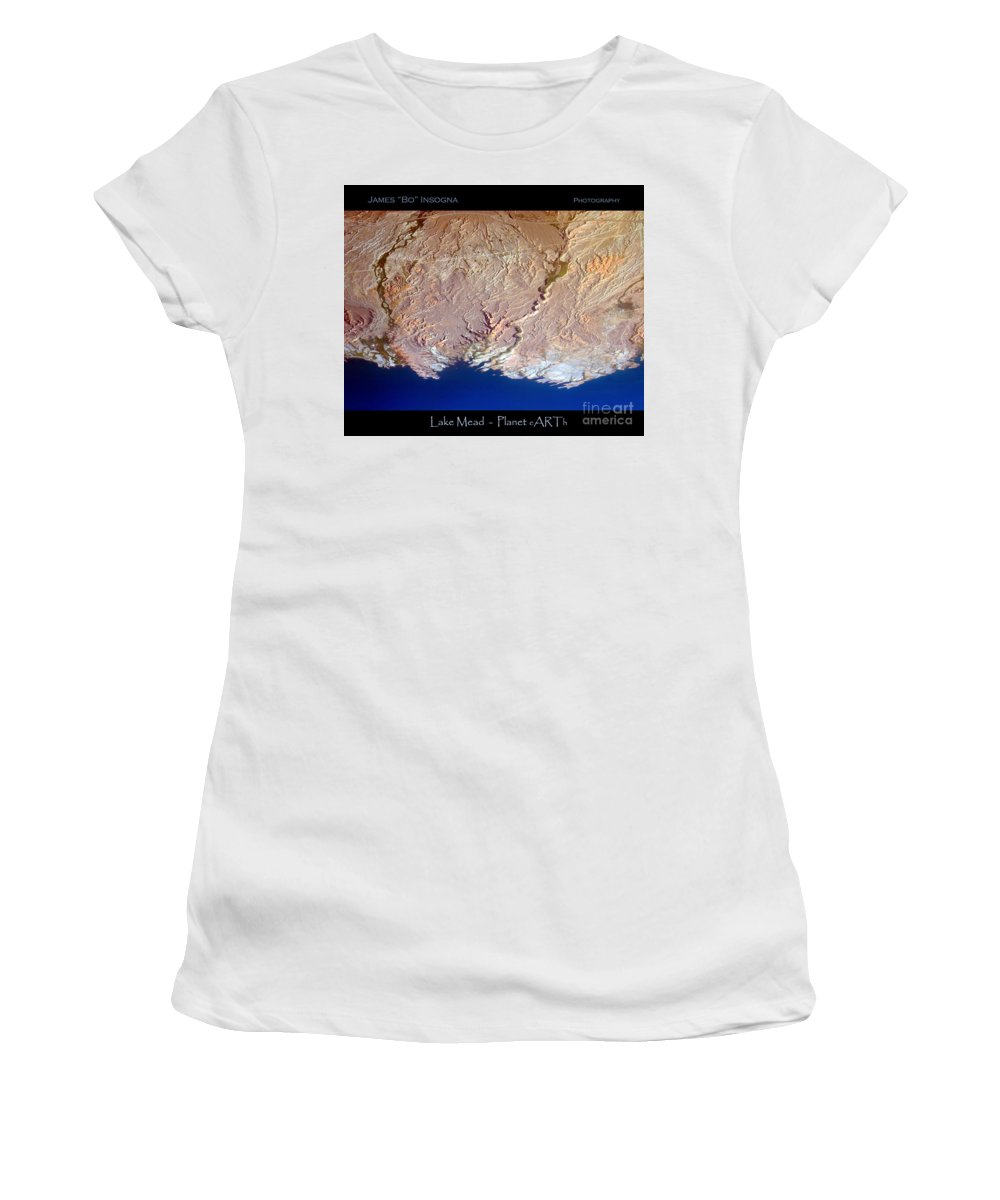 Aerial Women's T-Shirt (Athletic Fit) featuring the photograph Lake Mead - Planet Art by James BO Insogna