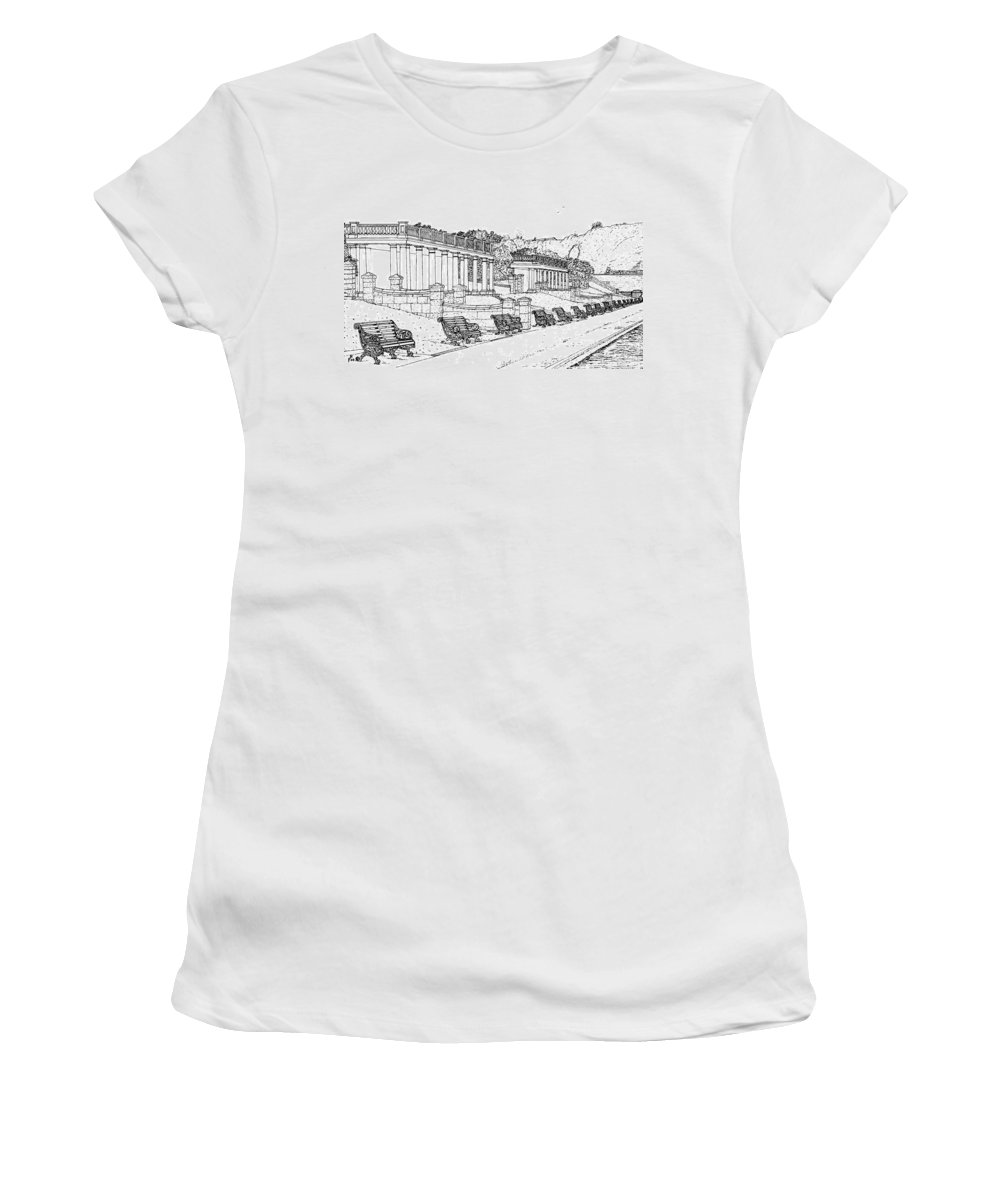 Scenic Drawing Women's T-Shirt (Athletic Fit) featuring the drawing Lakeside. Barry by Frank Hamilton