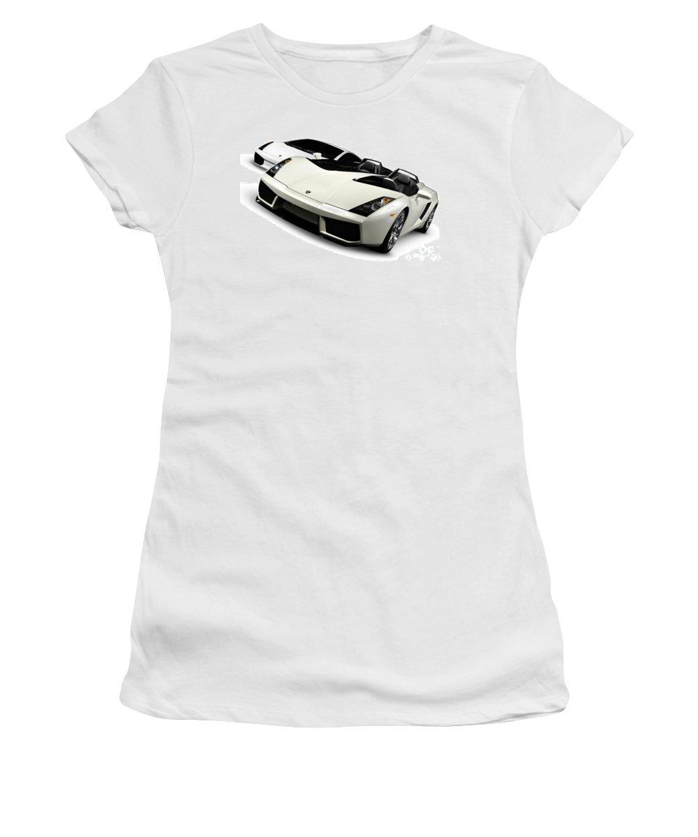 Lamborghini Women's T-Shirt (Athletic Fit) featuring the photograph Lamborghini Super Cars by Oleksiy Maksymenko