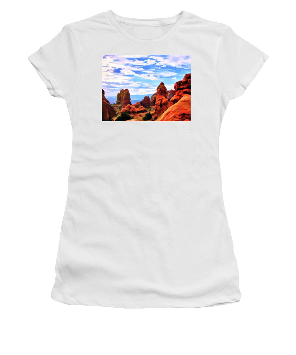 Land Of Moab Women's T-Shirt featuring the digital art Land Of Moab - Watercolor by Gary Baird
