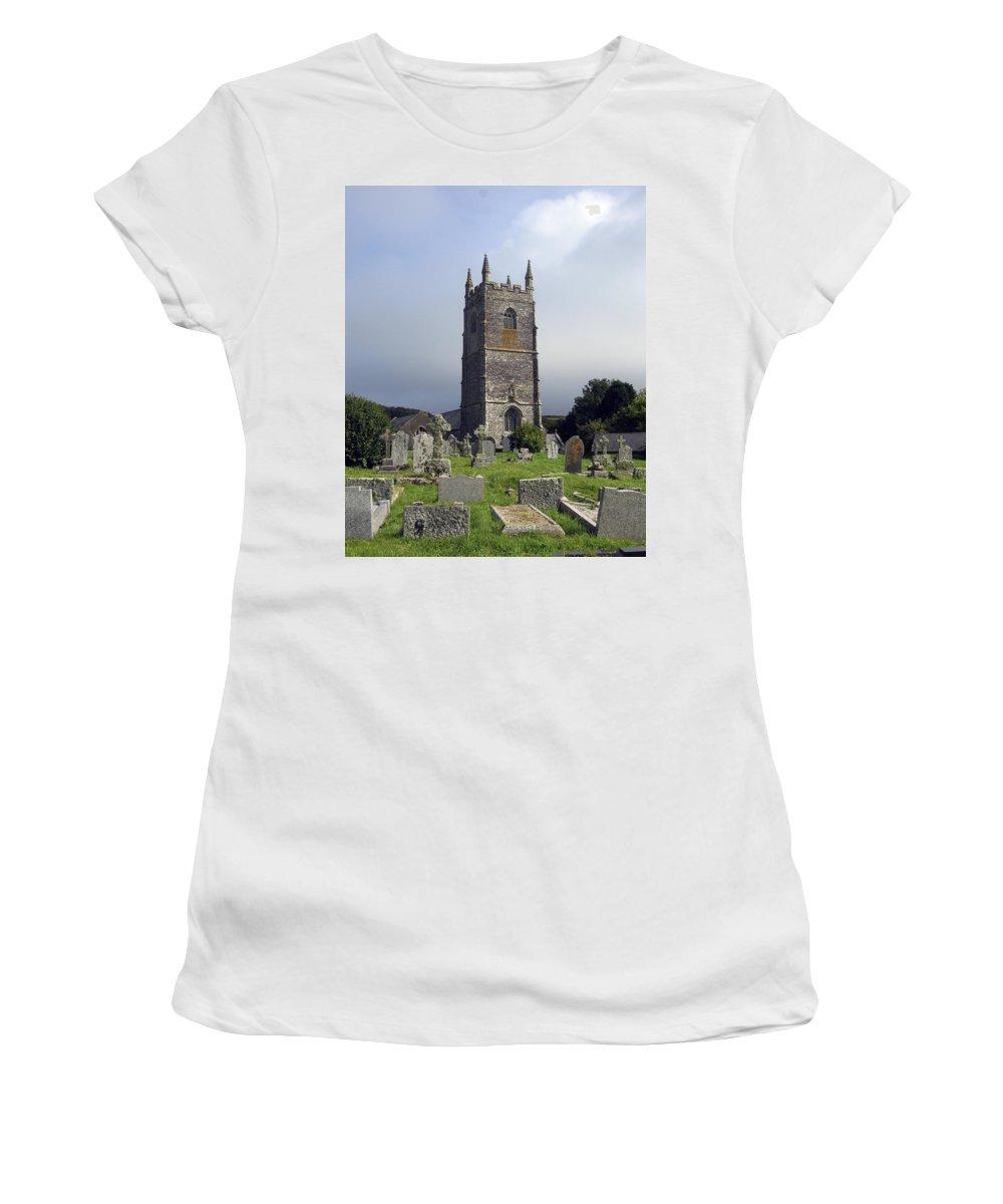 Lansallos Women's T-Shirt featuring the photograph Lansallos Church Cornwall by Kurt Van Wagner