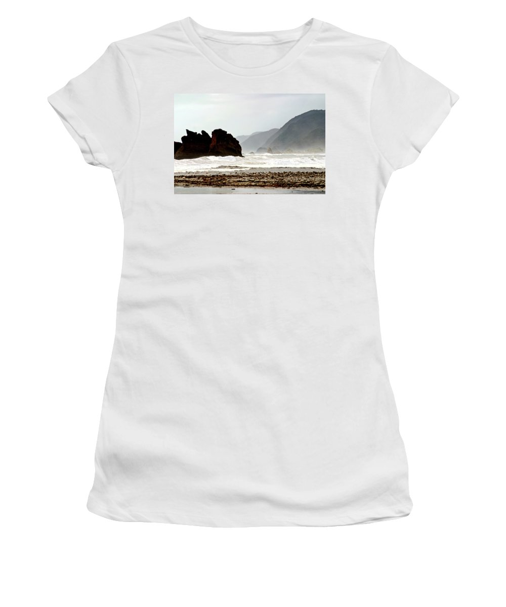 Coastline Women's T-Shirt featuring the digital art Large Waves Along The New Zealand Coast by Mark Duffy