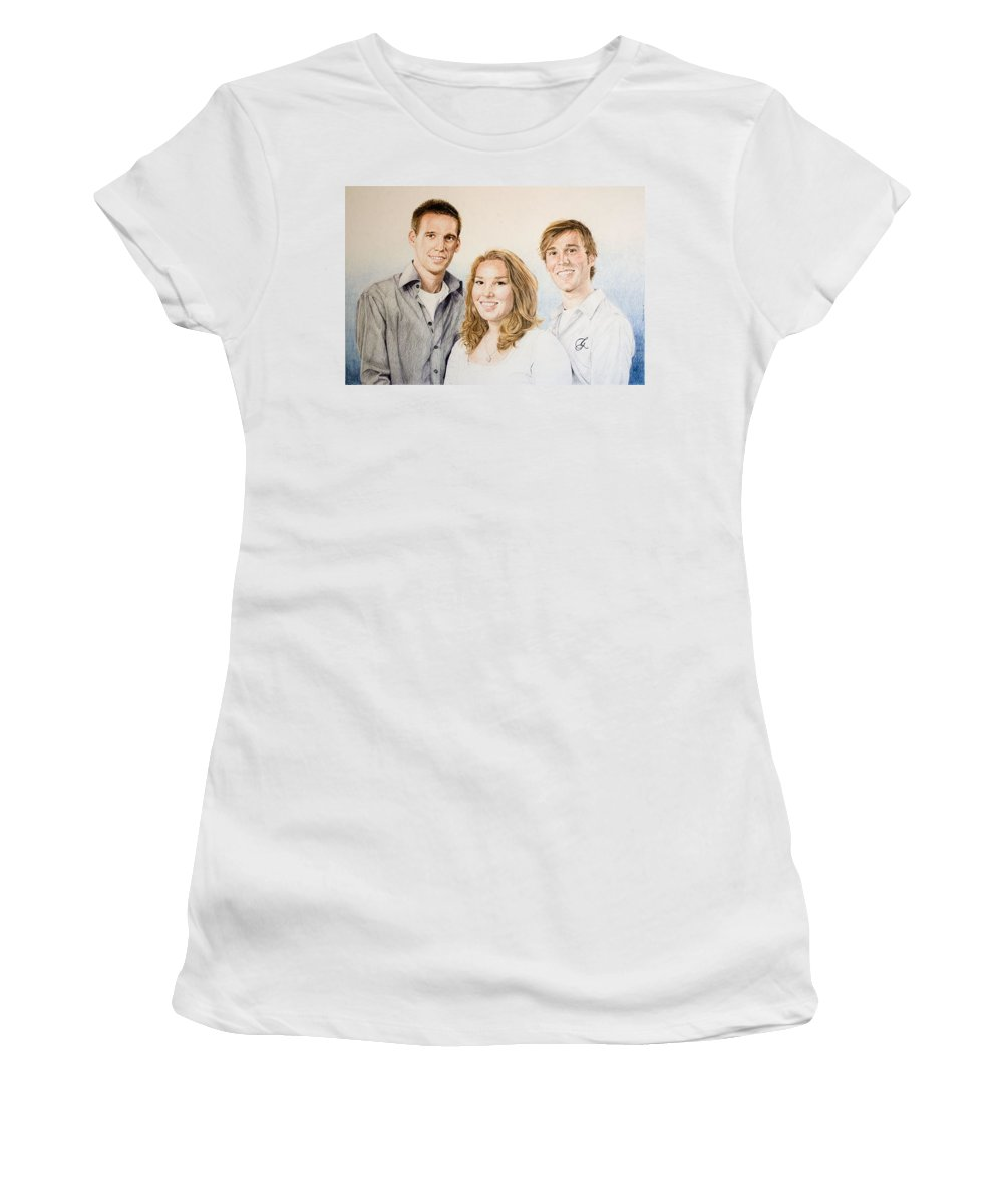 Portrait Women's T-Shirt (Athletic Fit) featuring the drawing Lars Niels And Ilse by Rob De Vries