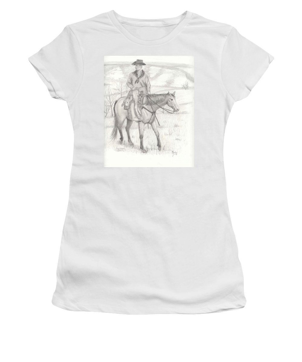 Horse Women's T-Shirt (Athletic Fit) featuring the drawing Last One In by Mendy Pedersen