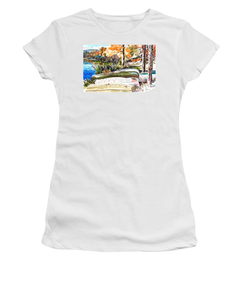 Last Summer In Brigadoon Women's T-Shirt (Athletic Fit) featuring the painting Last Summer In Brigadoon by Kip DeVore