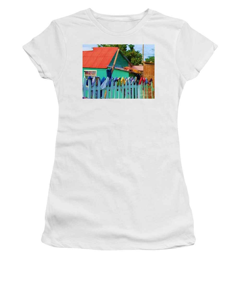Clothes Women's T-Shirt (Athletic Fit) featuring the photograph Laundry Day by Debbi Granruth