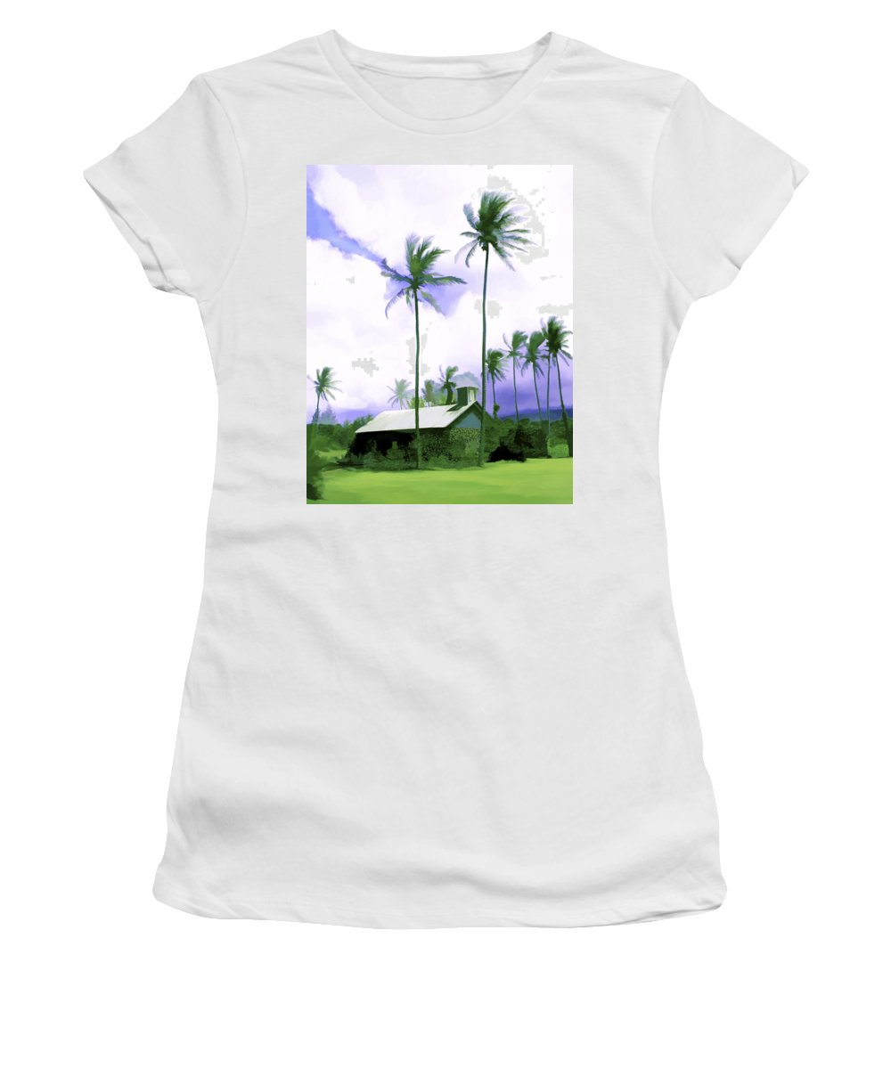 Hawaii Women's T-Shirt (Athletic Fit) featuring the photograph Lava Rock Church by Kurt Van Wagner