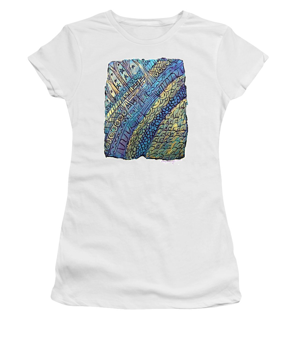 Abstract Women's T-Shirt (Athletic Fit) featuring the painting Layers Of Our Lives by Wayne Potrafka