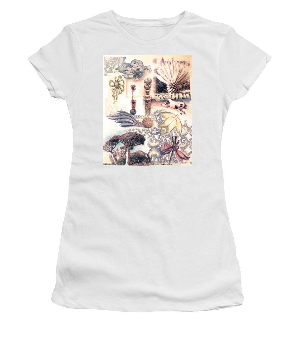 Abstract Women's T-Shirt (Athletic Fit) featuring the painting Le Petite Pig Does Fly by Valerie Meotti