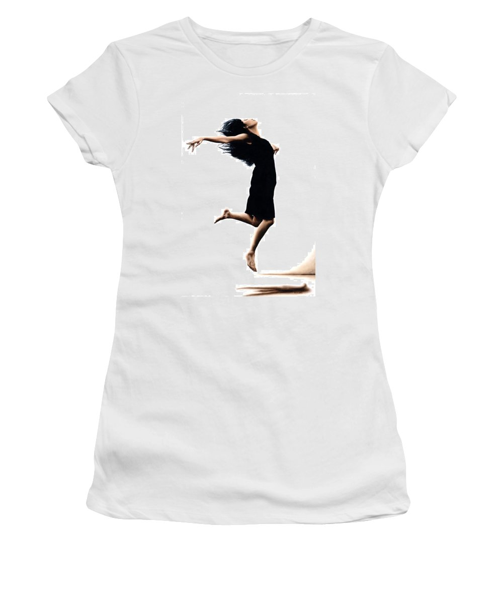 Ballet Women's T-Shirt (Athletic Fit) featuring the painting Leap Into The Unknown by Richard Young