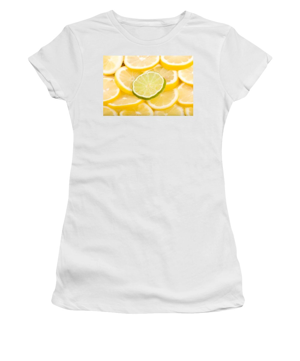 Abstract Women's T-Shirt (Athletic Fit) featuring the photograph Lemons And One Lime Abstract by James BO Insogna
