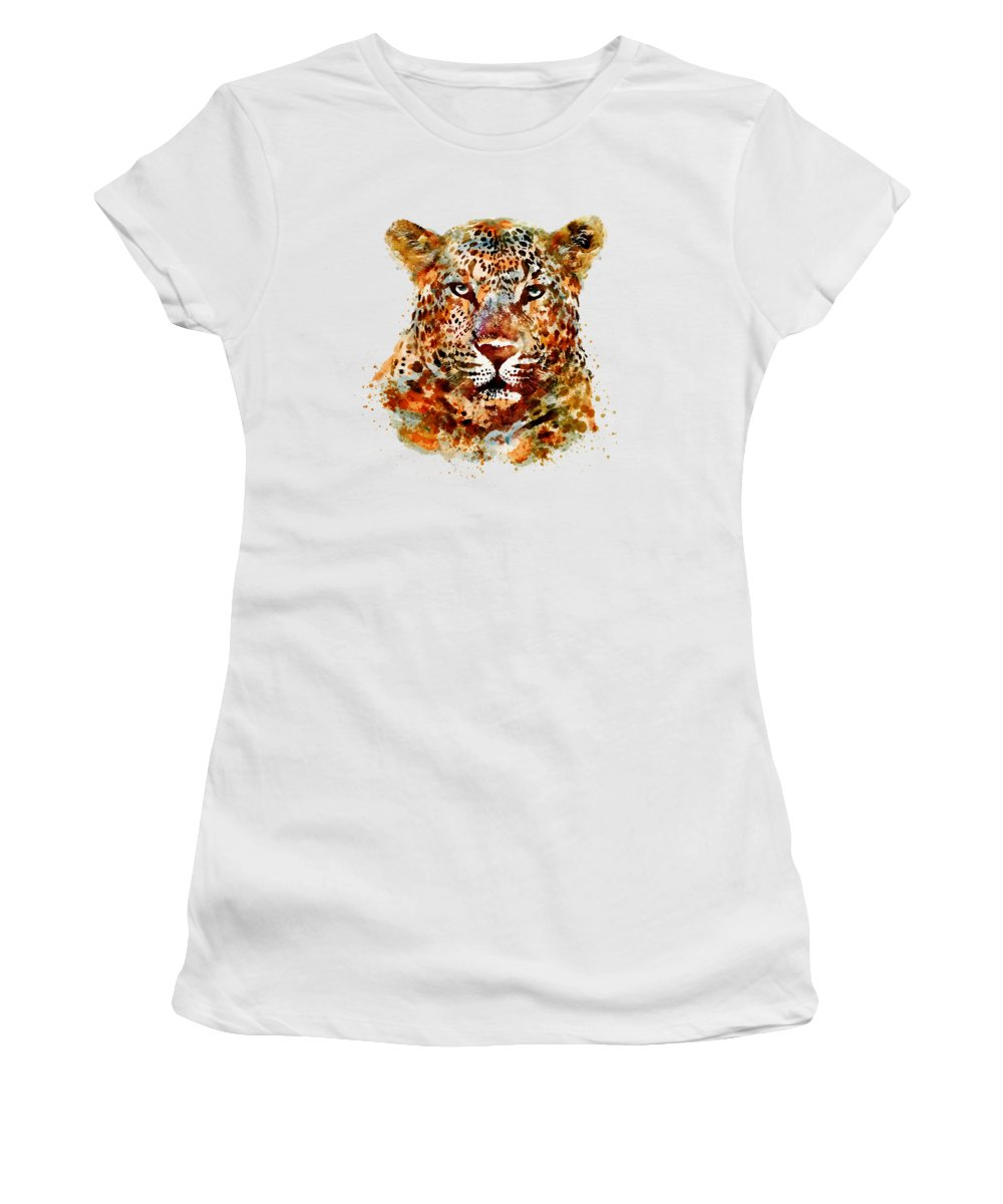 Leopard Women's T-Shirt featuring the painting Leopard Head Watercolor by Marian Voicu