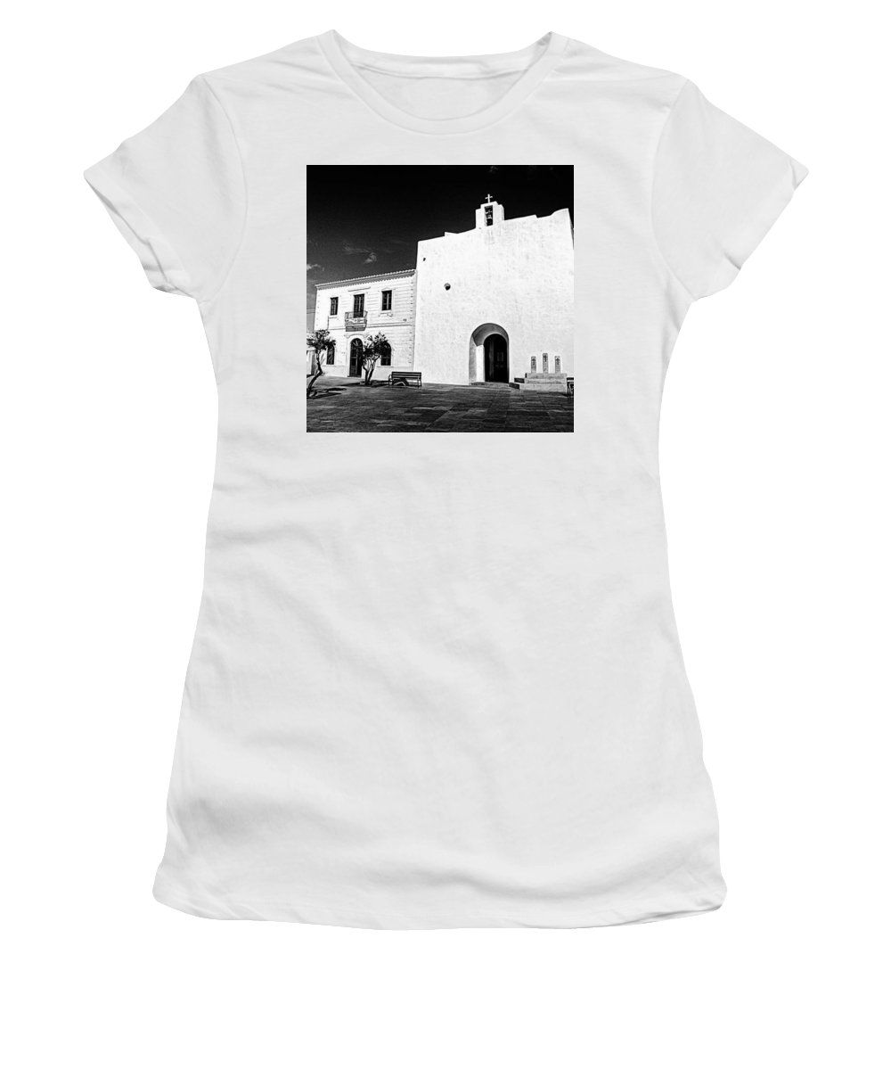 Balearics Women's T-Shirt featuring the photograph Fortified Church, Formentera by John Edwards
