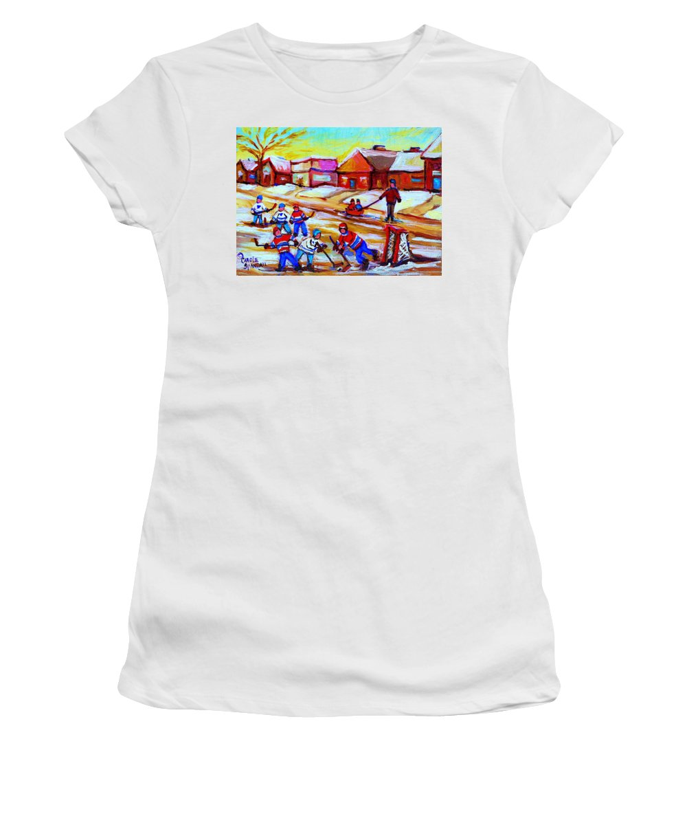 Hockey Canvas Prints Women's T-Shirt (Athletic Fit) featuring the painting Lets Play Hockey by Carole Spandau