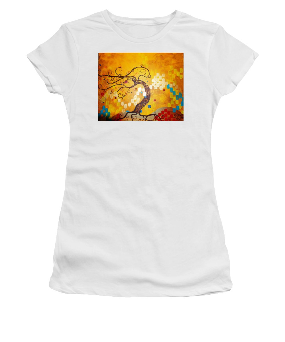 Women's T-Shirt (Athletic Fit) featuring the painting Life Is A Ball by Stefan Duncan