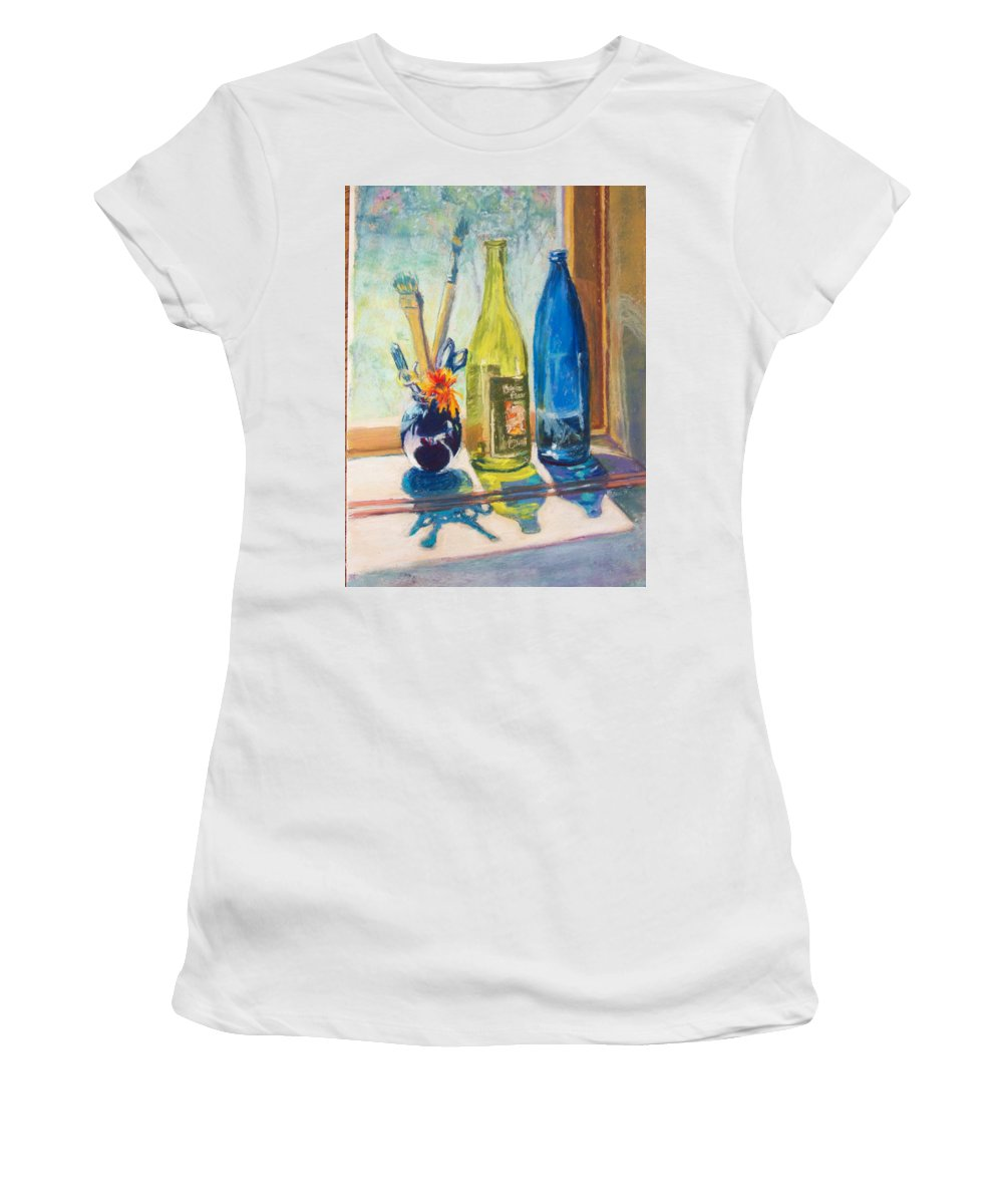 Bottles Women's T-Shirt (Athletic Fit) featuring the painting Light And Bottles by Laurie Paci