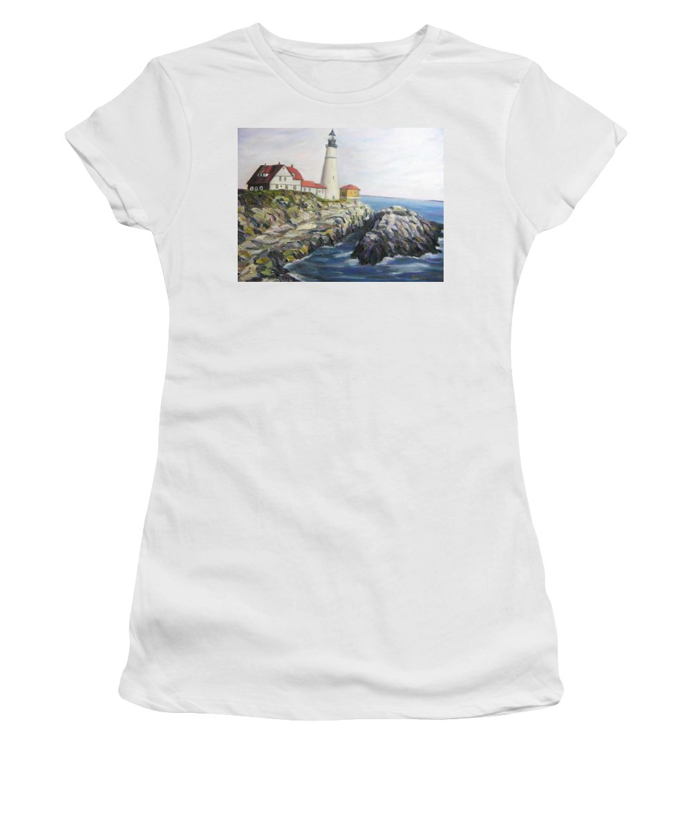 Portland Women's T-Shirt (Athletic Fit) featuring the painting Light House by Richard Nowak