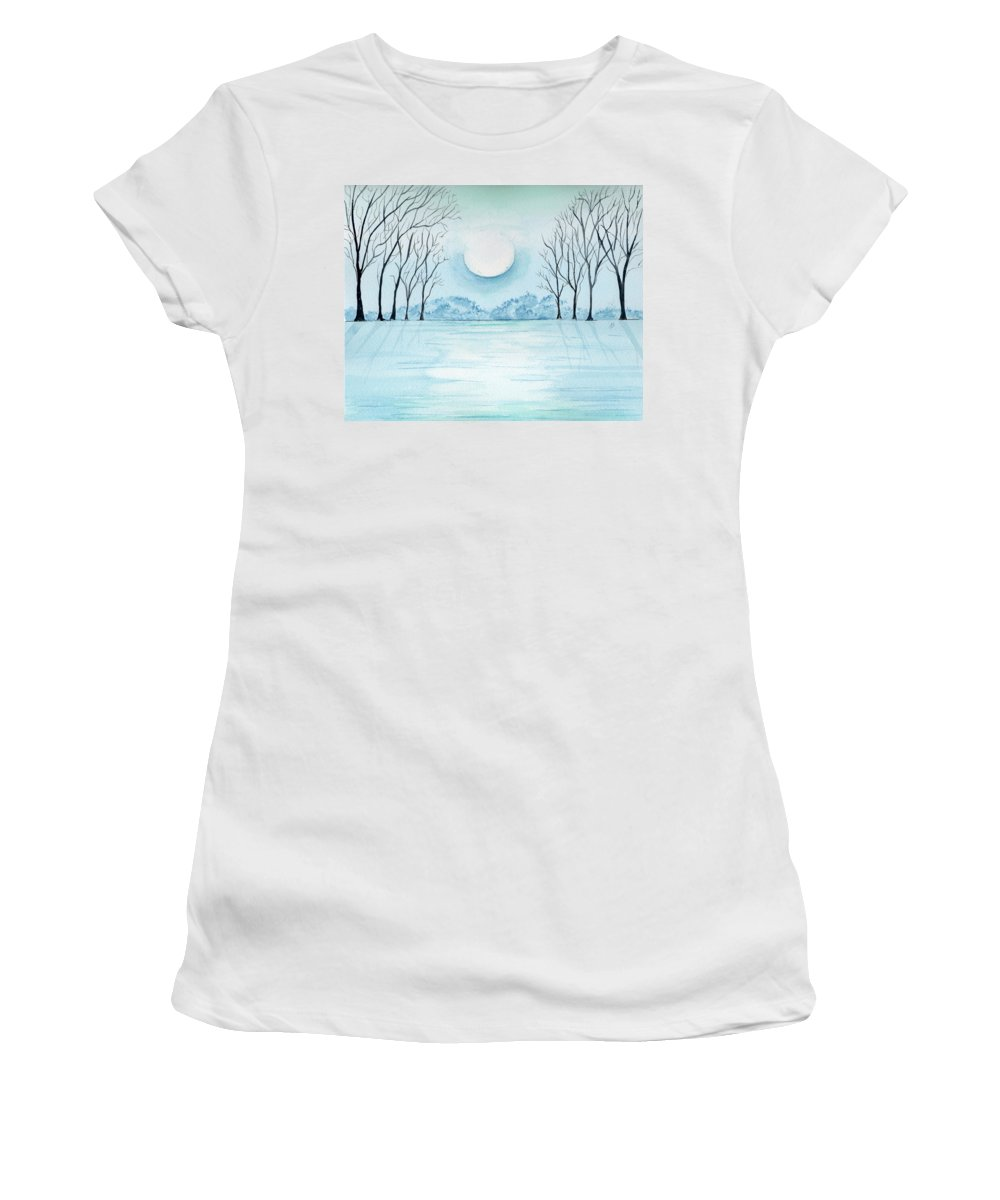Watercolor Women's T-Shirt featuring the painting Light On The Field by Brenda Owen