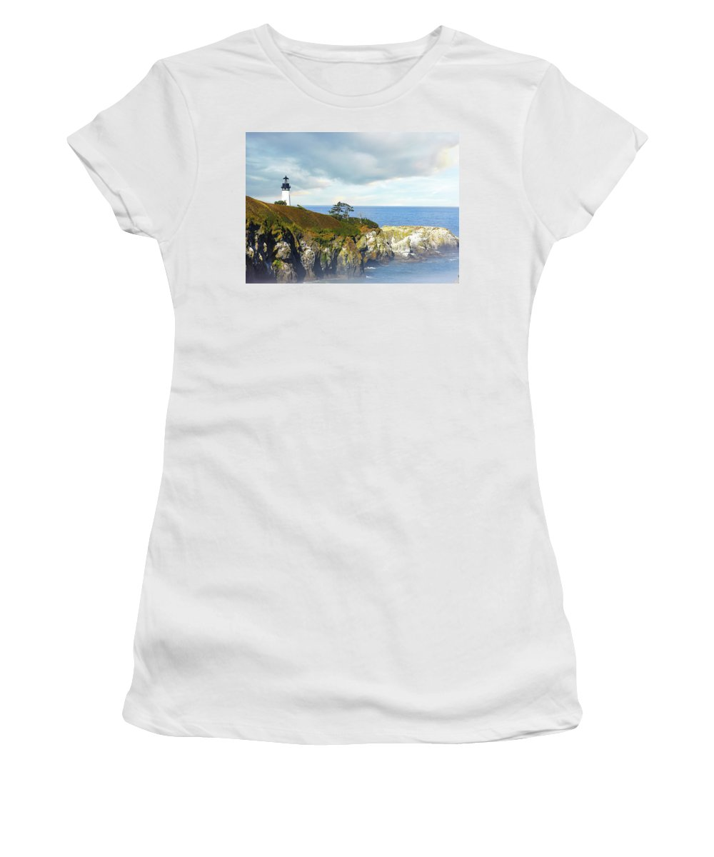 Lighthouse Women's T-Shirt (Athletic Fit) featuring the photograph Lighthouse On A Jetty. by Greg Chapel