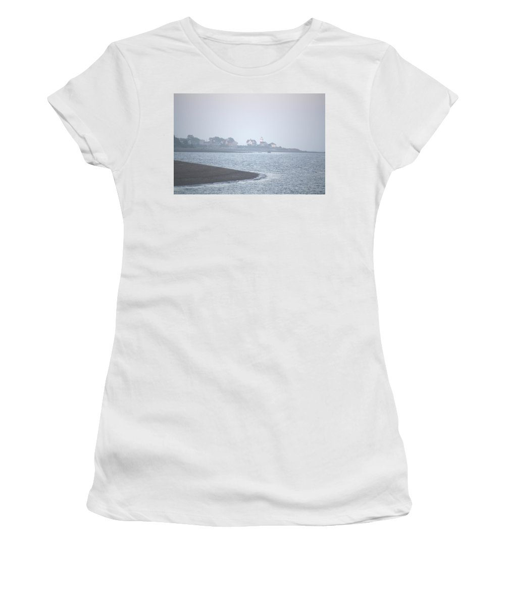 Lighthouse Women's T-Shirt (Athletic Fit) featuring the painting Lighthouse On Lordship Beach by Donna Walsh