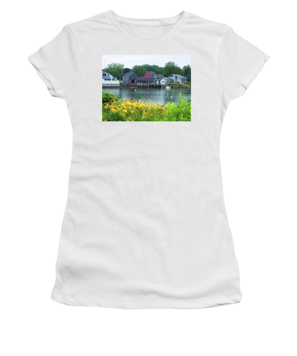 Lily Women's T-Shirt (Athletic Fit) featuring the photograph Lilies By The Bay, Cape Porpoise Me by Lucio Cicuto