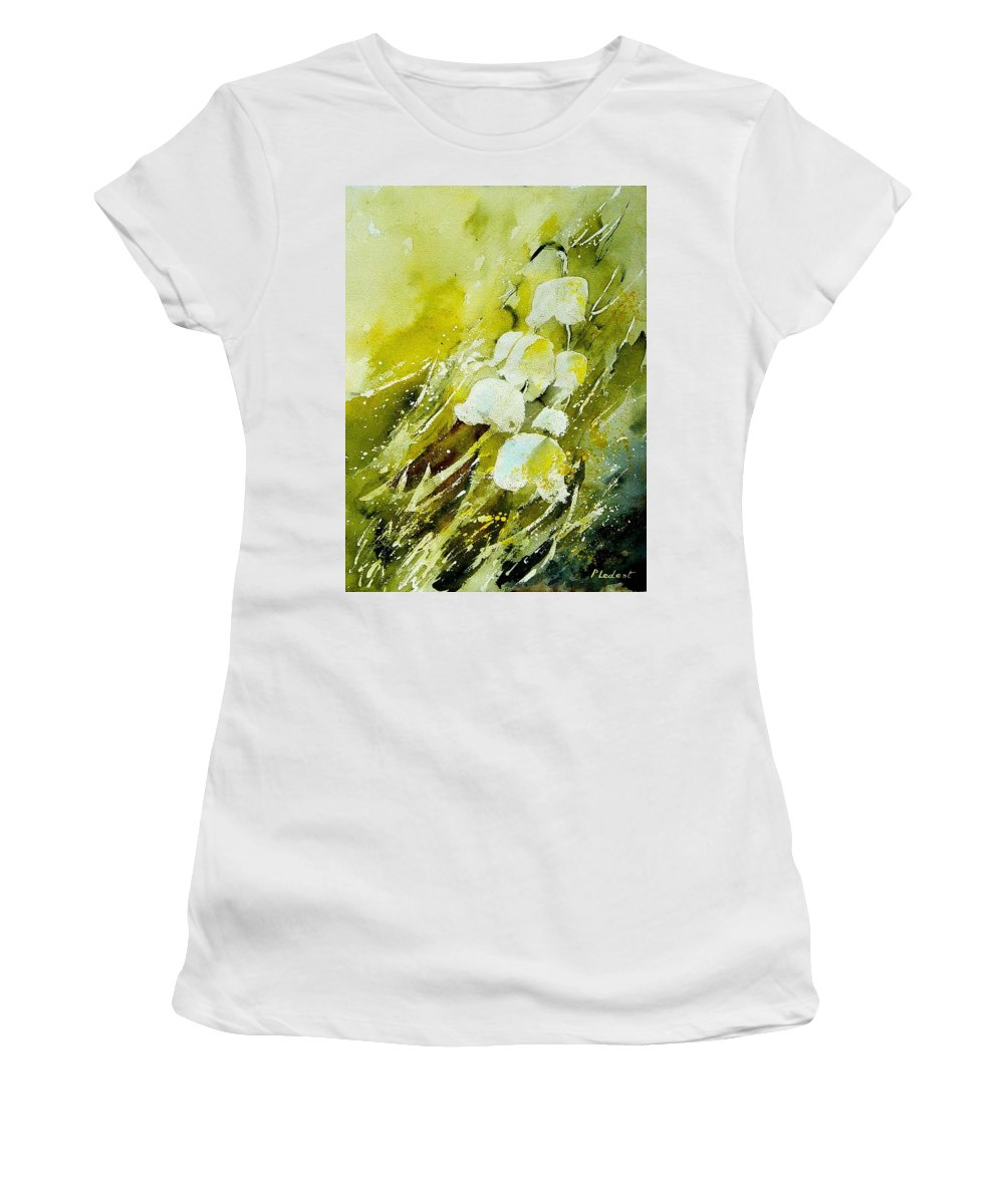 Flowers Women's T-Shirt (Athletic Fit) featuring the painting Lilly Of The Valley by Pol Ledent