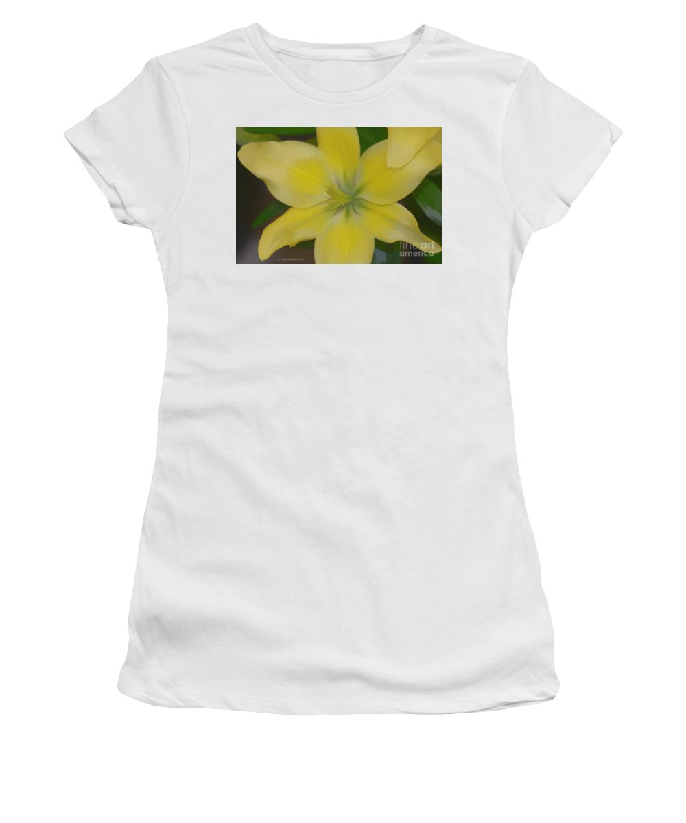 Lilly Women's T-Shirt (Athletic Fit) featuring the photograph Lilly With Artistic Beauty by Deborah Benoit