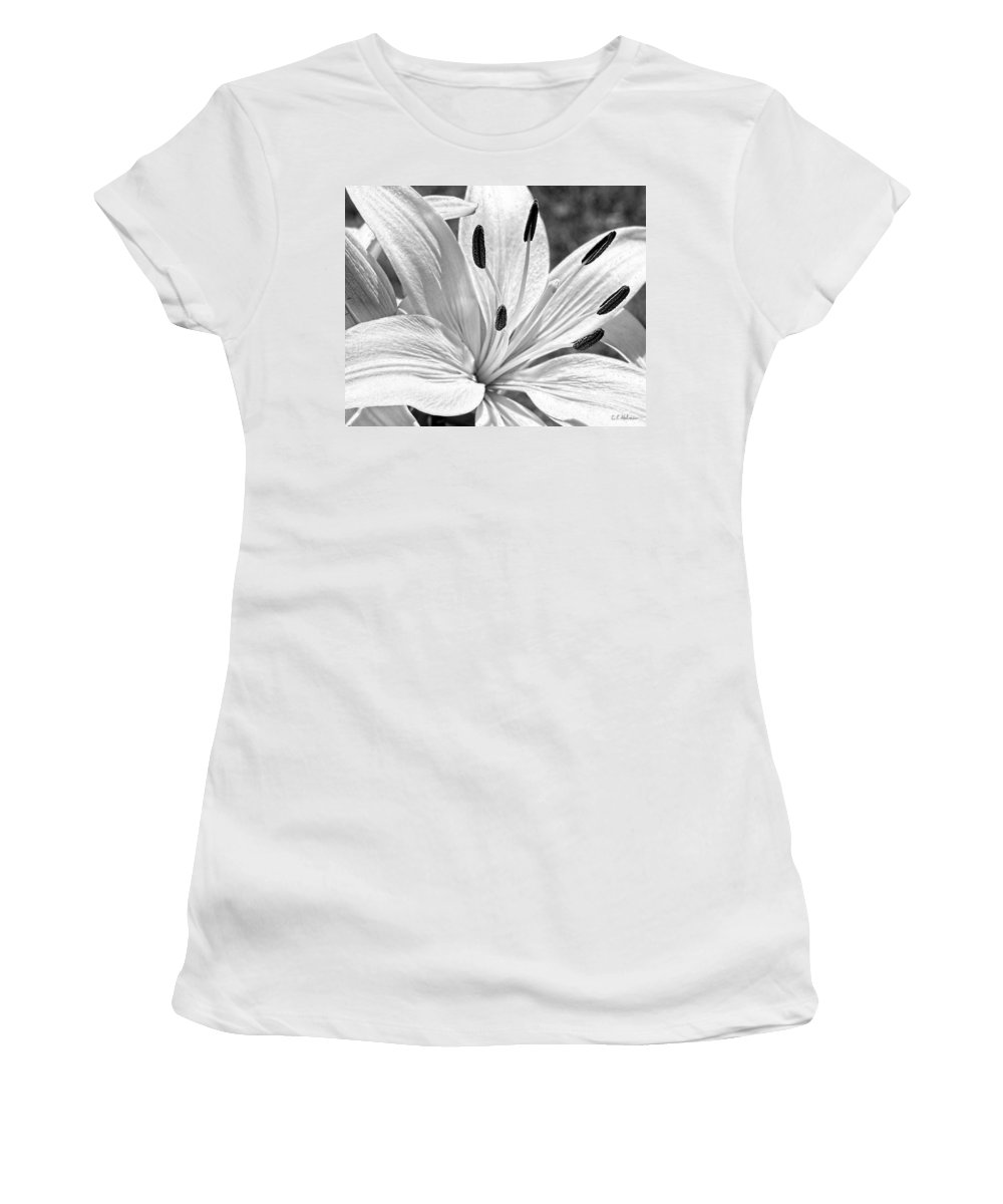 Monochrome Women's T-Shirt (Athletic Fit) featuring the photograph Lily White - Bw by Christopher Holmes