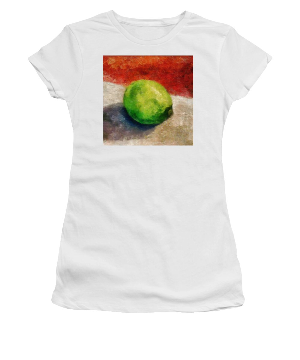 Lime Women's T-Shirt (Athletic Fit) featuring the painting Lime Still Life by Michelle Calkins