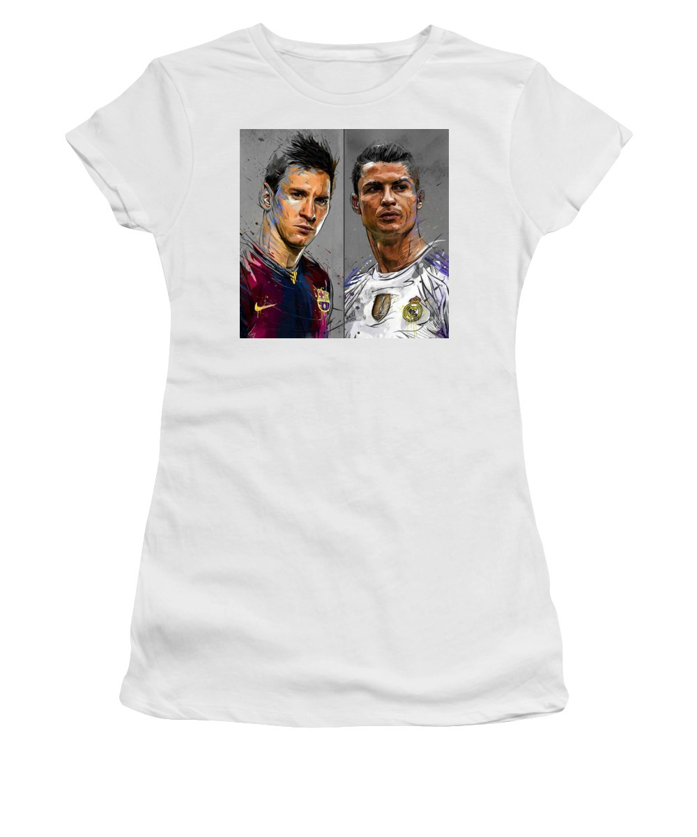 buy popular 2bf30 07d10 Lionel Messi - Fc Barcelona And Cristiano Ronaldo - Real Madrid Fc Women's  T-Shirt