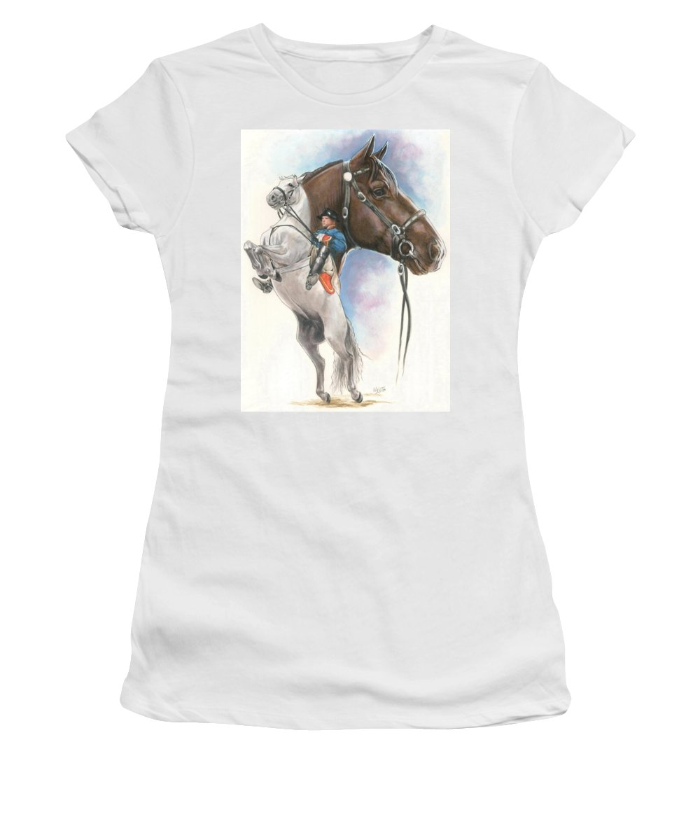 Spanish Riding School Women's T-Shirt (Athletic Fit) featuring the mixed media Lippizaner by Barbara Keith