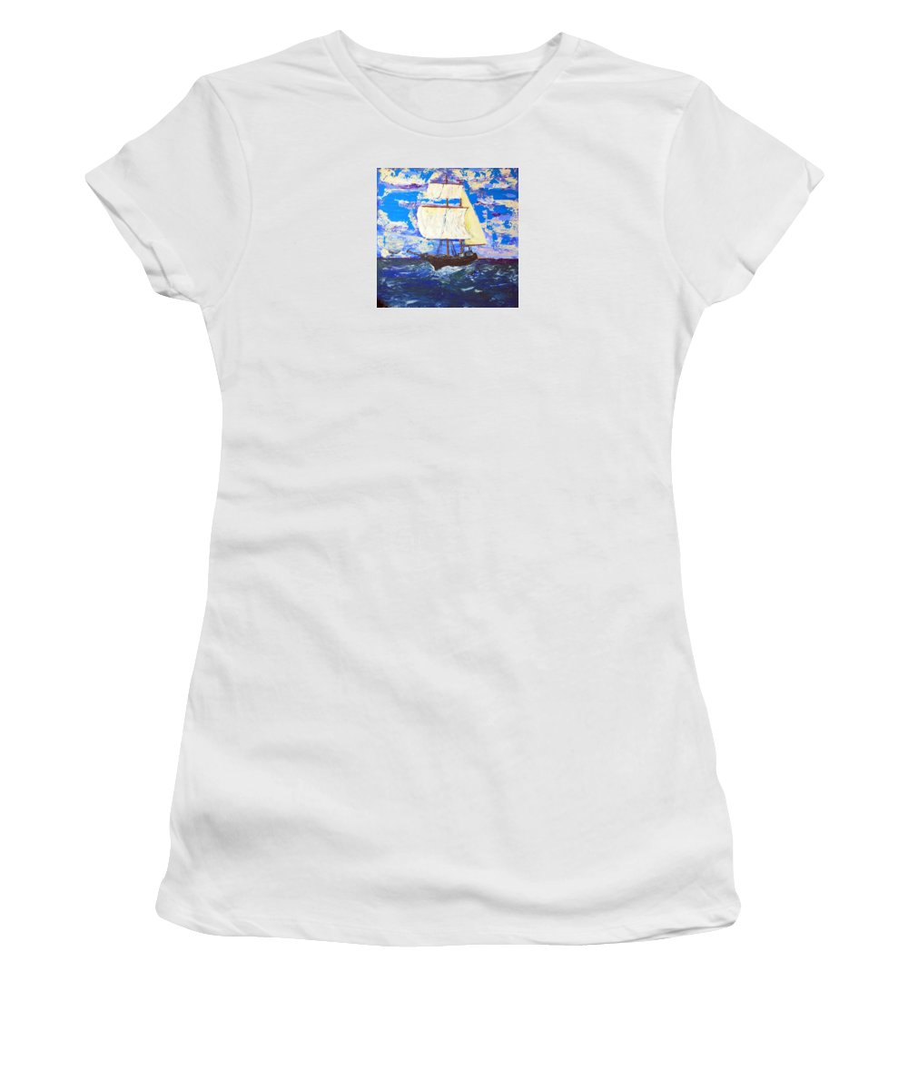 Impressionist Painting Women's T-Shirt (Athletic Fit) featuring the painting Little Clipper by J R Seymour