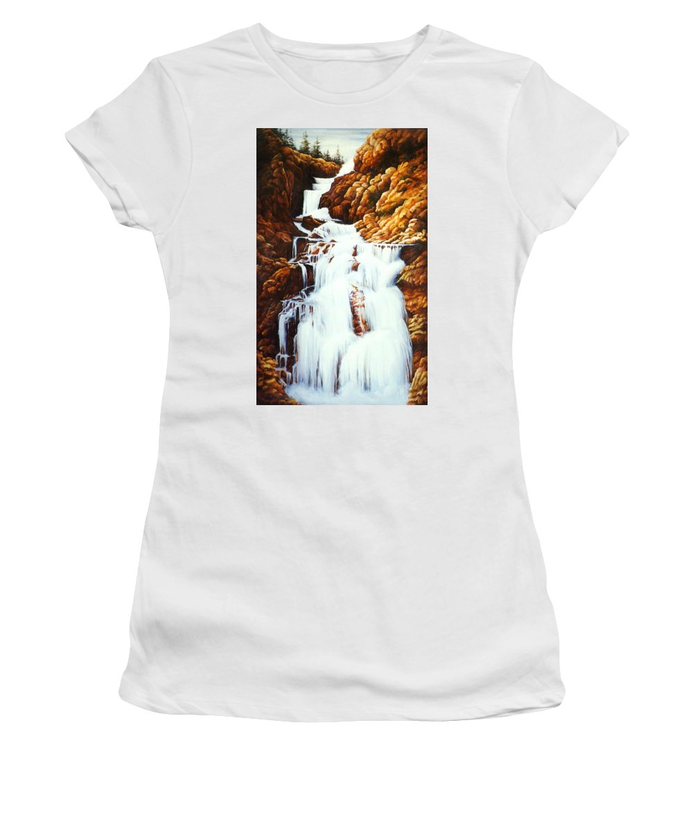 Waterfall Women's T-Shirt featuring the painting Little Firehole Falls by Teri Rosario