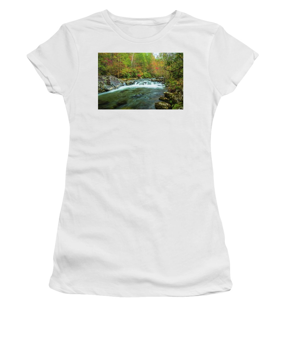 Smoky Mountains Women's T-Shirt (Athletic Fit) featuring the photograph Little Pigeon River Flows In Autumn In The Smoky Mountains by Carol Mellema