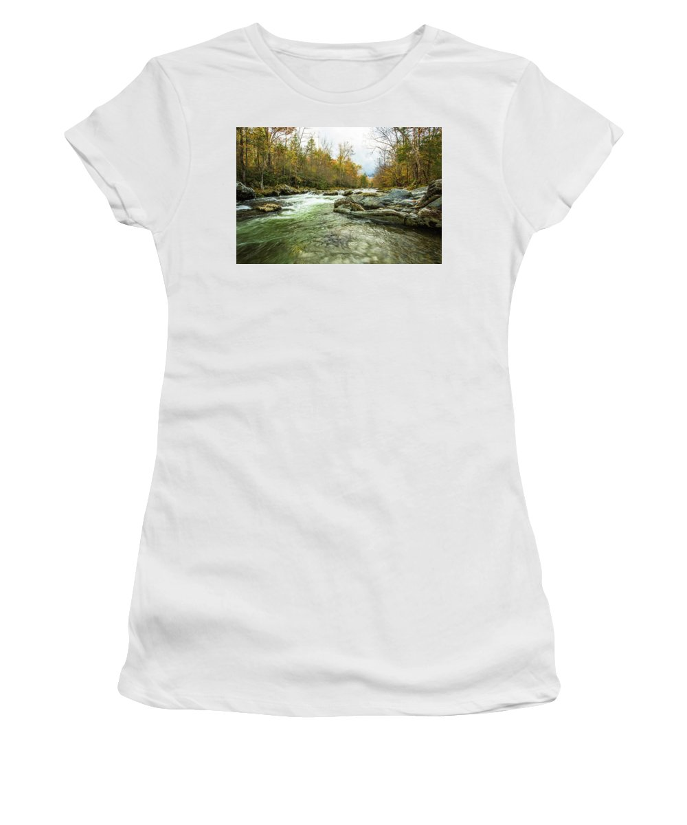 Smoky Mountains Women's T-Shirt (Athletic Fit) featuring the photograph Little Pigeon River Greenbrier Area Of Smoky Mountains by Carol Mellema