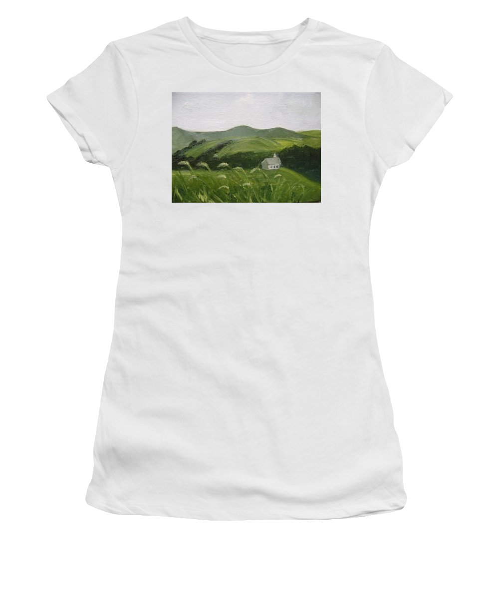 Landscape Women's T-Shirt (Athletic Fit) featuring the painting Little Schoolhouse On The Hill by Toni Berry