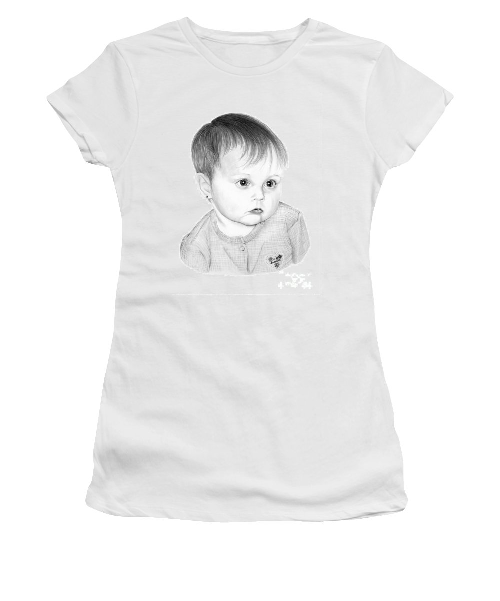 Pencil Women's T-Shirt (Athletic Fit) featuring the drawing Little Sweetie by Murphy Elliott