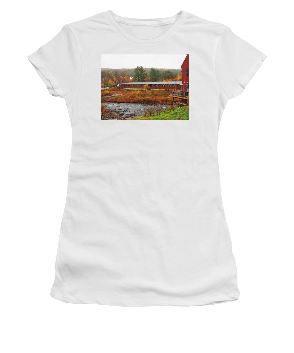 Littleton Women's T-Shirt (Athletic Fit) featuring the photograph Littleton Nh Covered Bridge by Lucio Cicuto
