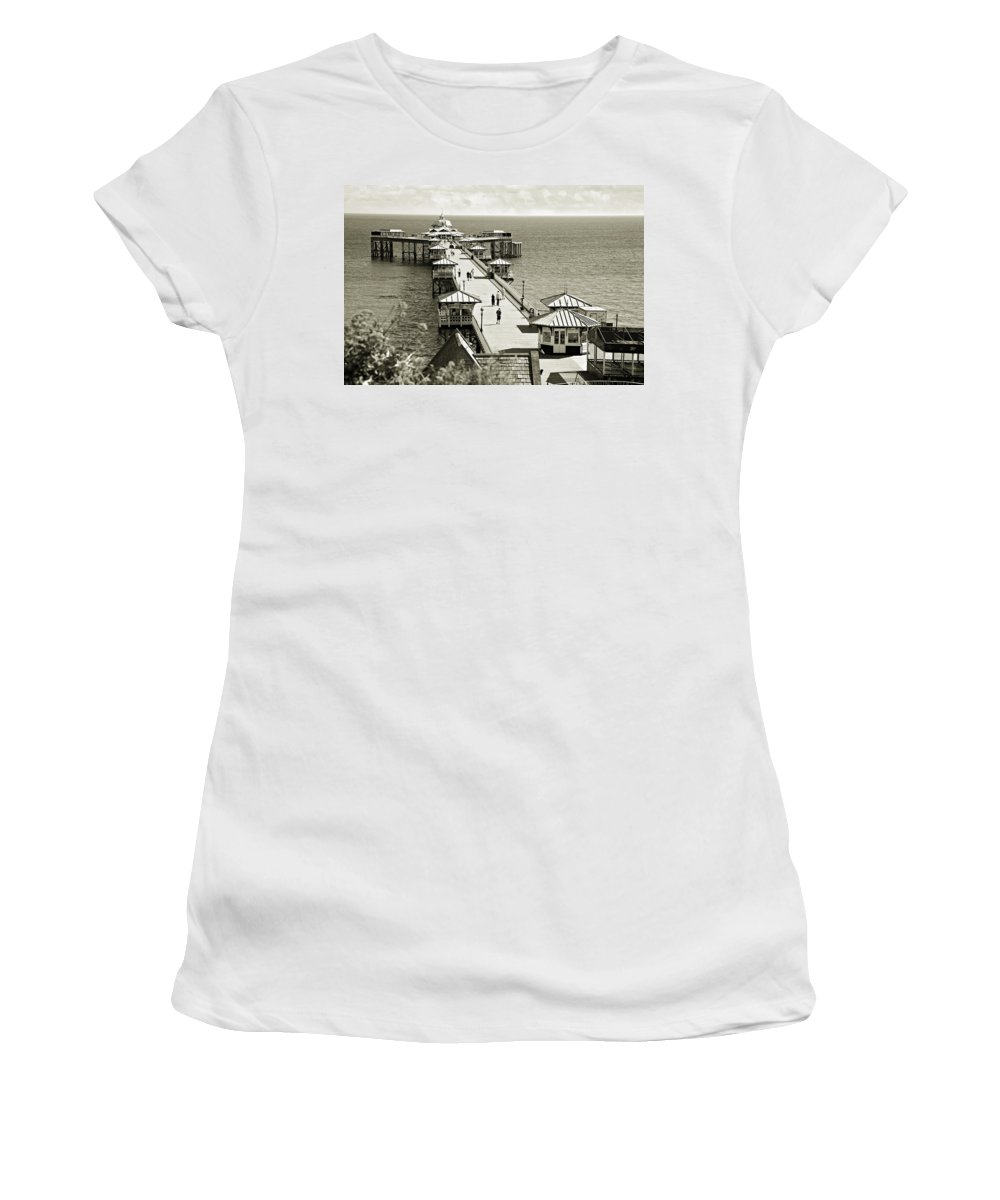 Pier Women's T-Shirt (Athletic Fit) featuring the photograph Llandudno Pier North Wales Uk by Mal Bray
