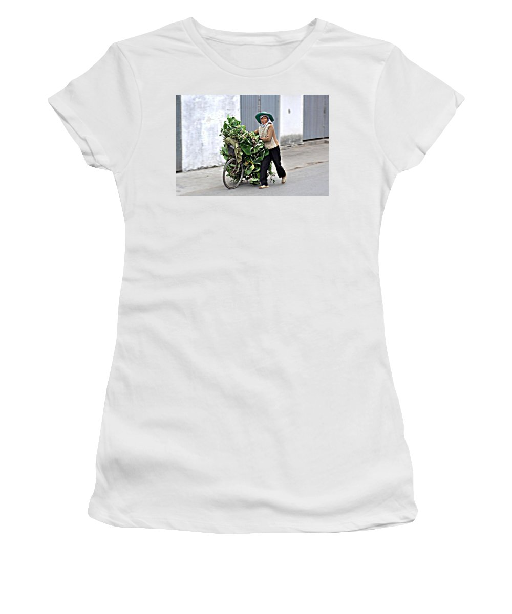 Bicycle Women's T-Shirt featuring the photograph Loaded Bicycle by John Hughes