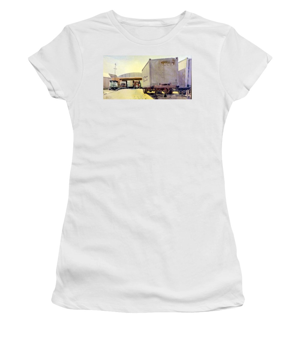 Loading Dock Women's T-Shirt (Athletic Fit) featuring the painting Loading Dock by Donald Maier