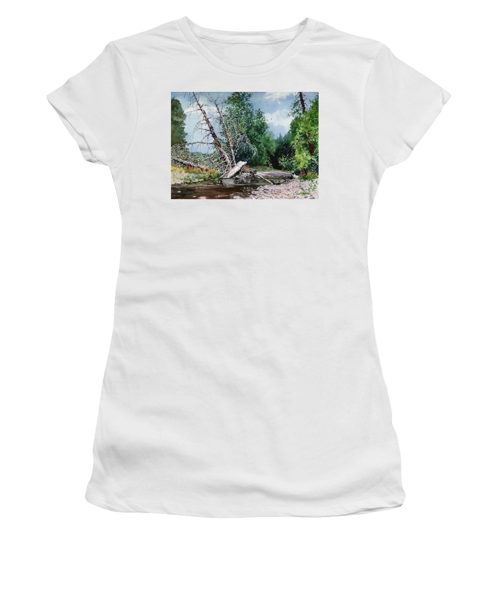Washington State Women's T-Shirt (Athletic Fit) featuring the painting Log Jam by Donald Maier